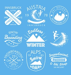 Snowboarding typography icon logotype and badge st vector
