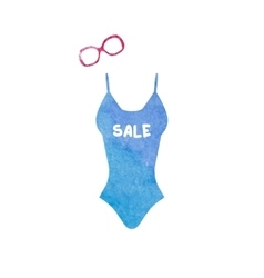 Swimsuit and sunglasses watercolor icons set vector