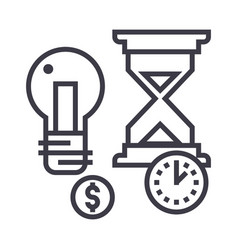 Time management hourglass coin timer vector