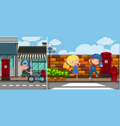 Two road scenes with kids vector