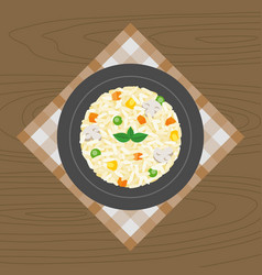 Vegetable and mushroom risotto vector