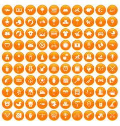 100 nursery icons set orange vector