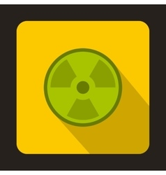 Green radioactive sign icon flat style vector