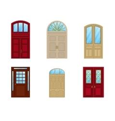 Room door set of icons interior entrance design vector