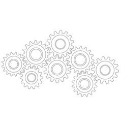 cog wheel gear mechanism close-up white vector image