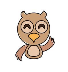 draw owl animal comic vector image