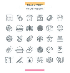 bread and pastry thin vector image