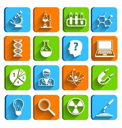 Science laboratory icons set vector