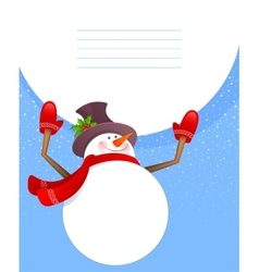 Xmas back with snowman vector