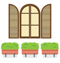 Open vintage arc window with pot plants below vector