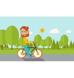 Man riding a bicycle vector