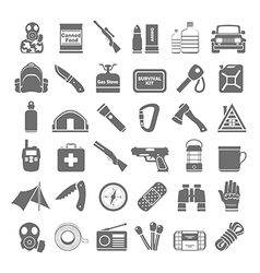 Black icons doomsday preppers vector