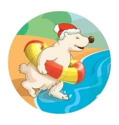 Little cute white bear wearing santa hat is vector image