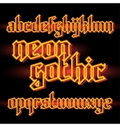 Neon light gothic font vector