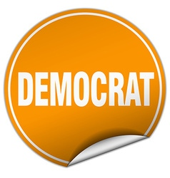 Democrat round orange sticker isolated on white vector