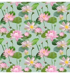 Vintage Waterlily Flowers Seamless Pattern vector image
