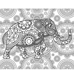Ethnic indian elephant over ornate background vector