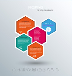 Abstract hexagon business infographics elements vector