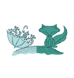 Aquamarine hand drawn silhouette of fox in hill vector