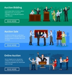 Auction people 3 horizontal bannersset vector