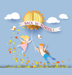 Back to school card with kids leaves and sun vector