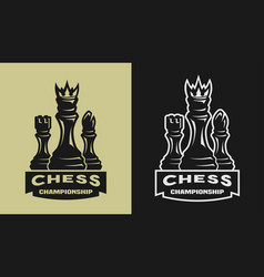 chess game championship emblem logo vector image vector image