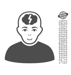 Clever boy icon with bonus vector
