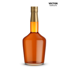 Cognac whiskey or brandy bottle isolated vector
