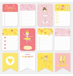 Cute balerina tag and labels set - for baby vector