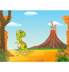 Cute tyrannosaurus running with the volcano backgr vector