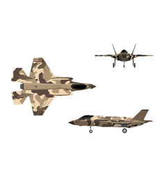 fighter jet war plane in flat style vector image vector image