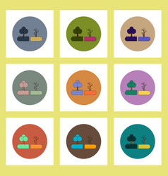 Flat icons set of drought and trees concept on vector