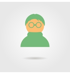 green anonymous icon with shadow vector image vector image