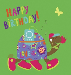 Happy birthday card with romantic turtle vector image