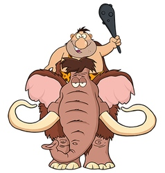 Happy Caveman on Mammoth Cartoon vector image vector image