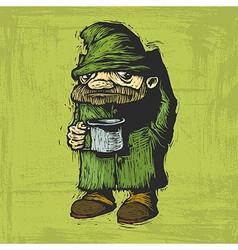 homeless with mug vector image