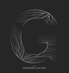 Letter g of branch or cracked alphabet g vector