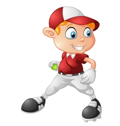 little boy playing baseball cartoon vector image