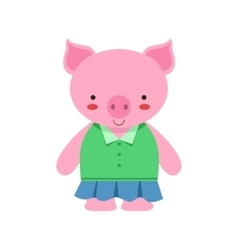 Pig In Green Top And Blue Skirt Cute Toy Baby vector image vector image