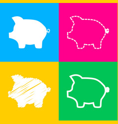 Pig money bank sign four styles of icon on four vector
