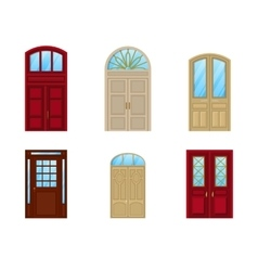 Room door set of icons interior entrance design vector image