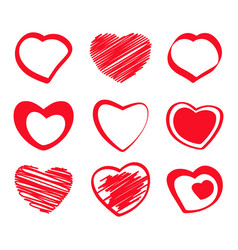 set of monochrome icons with hearts vector image