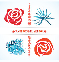 Set of palm leaves and rose flowers vector