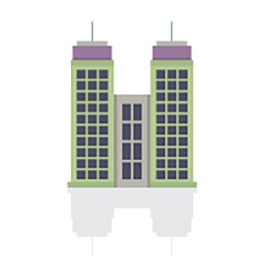 Single City Building On White Background vector image