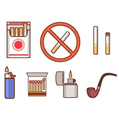 Smoking flat icon set vector