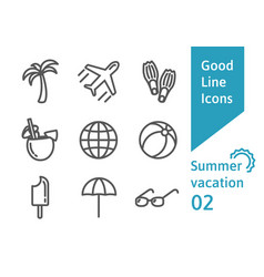 summer vacatin outline icons set vector image