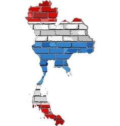 Thailand map on a brick wall vector