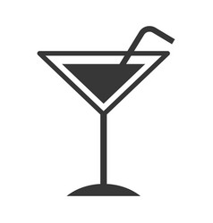 tropical cocktail cup with straw vector image