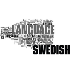 Why learn swedish text word cloud concept vector