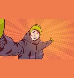young man in winter clothes take selfie photo vector image